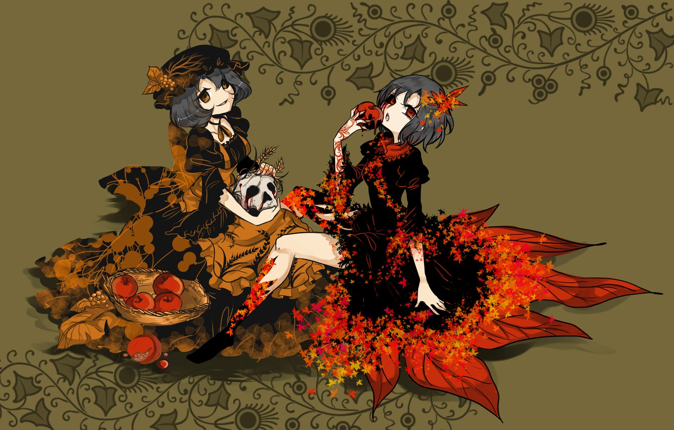 Photo wallpaper apples, skull, black dress, red eyes, sisters, Touhou Project, Project East, rotten, Minority This, Shizuha …