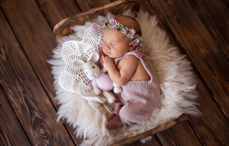 Photo wallpaper toy, Board, sleep, rabbit, girl, wreath, baby, cot, sleeping