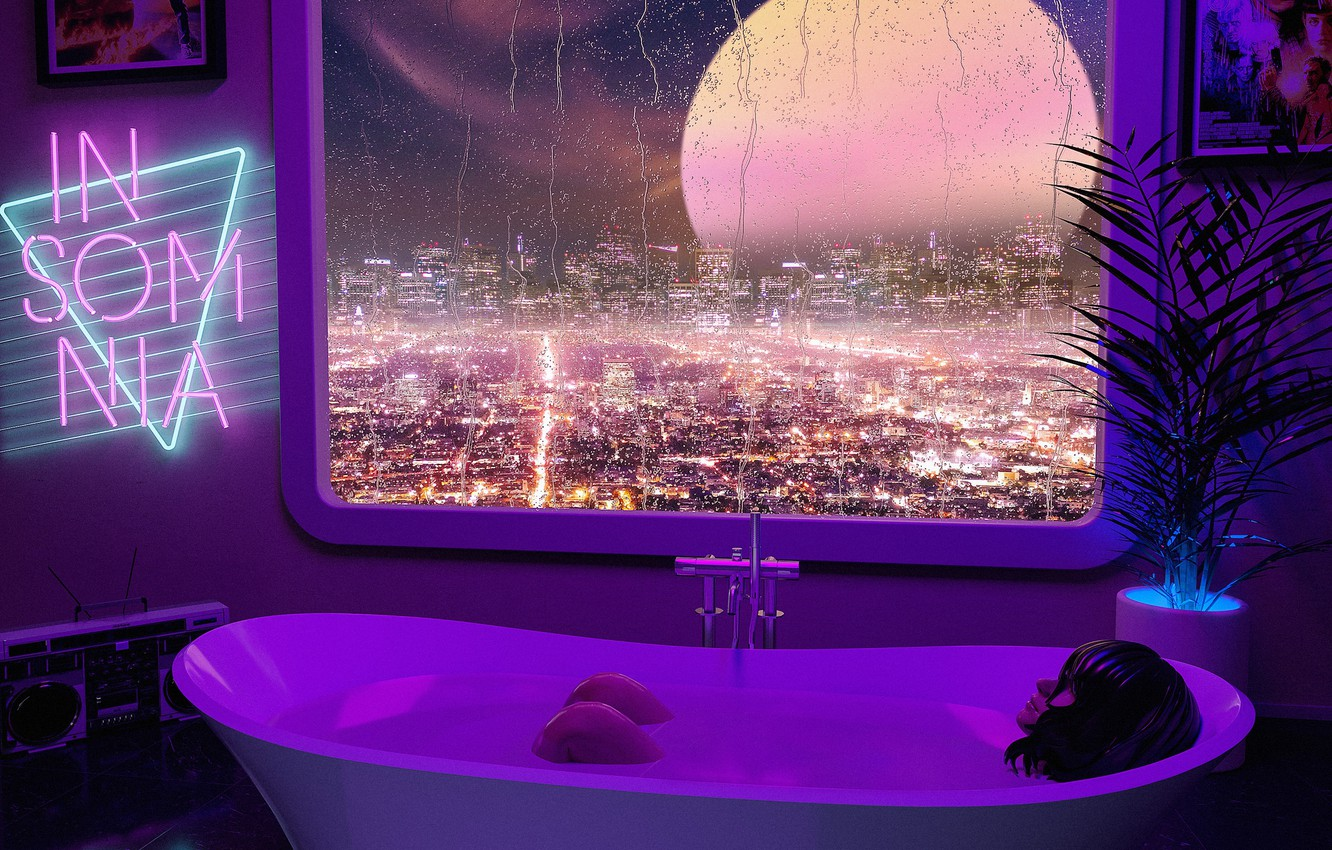 Photo wallpaper bathing, cover, Synth Wave, Insomnia, Projector