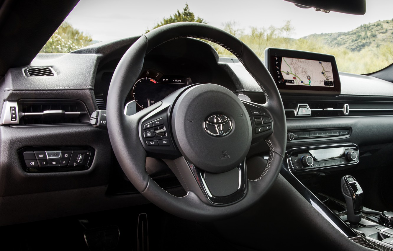 Photo wallpaper coupe, interior, Toyota, salon, Supra, the fifth generation, mk5, double, 2019, steering wheel, GR Above, …