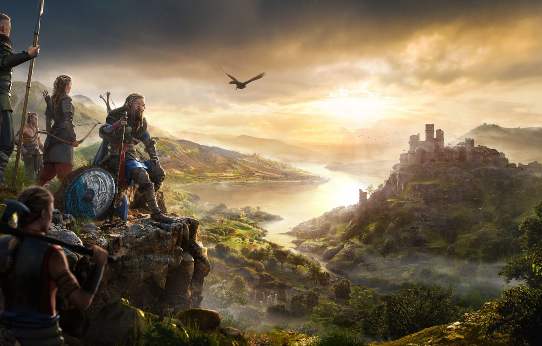 Photo wallpaper castle, bird, fortress, the Vikings, assassins, Assassin's Creed Valhalla