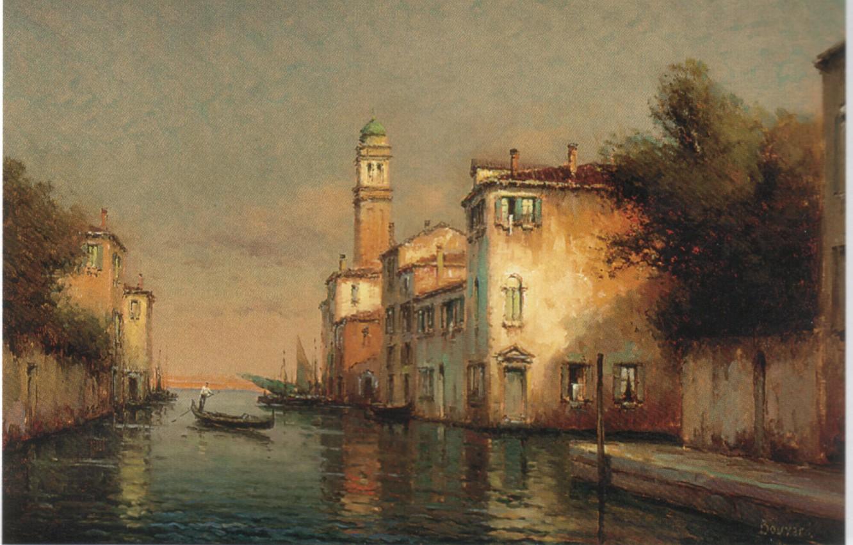 Photo wallpaper boat, people, home, A VENITIAN CANAL SCENE, BOUVARD