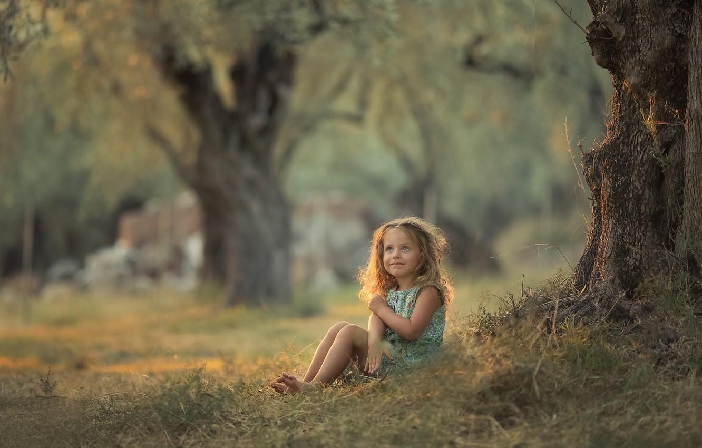 Photo wallpaper summer, grass, trees, nature, girl, baby, child, Chudak Irena