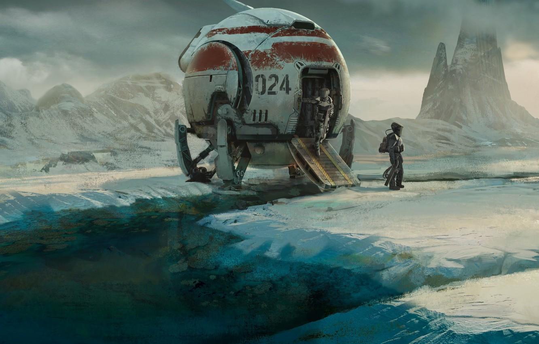 Photo wallpaper ice, fantasy, science fiction, mountains, snow, spaceship, sci-fi, planet, digital art, artwork, fantasy art, space …