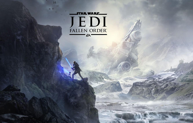 Photo wallpaper mountains, fighters, lightsaber, spaceship, Star Wars Jedi: Fallen Order