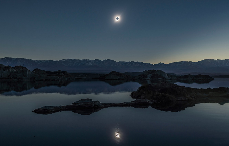 Photo wallpaper reflection, The sun, The moon, Eclipse, Moon, Sun, eclipse, reflection