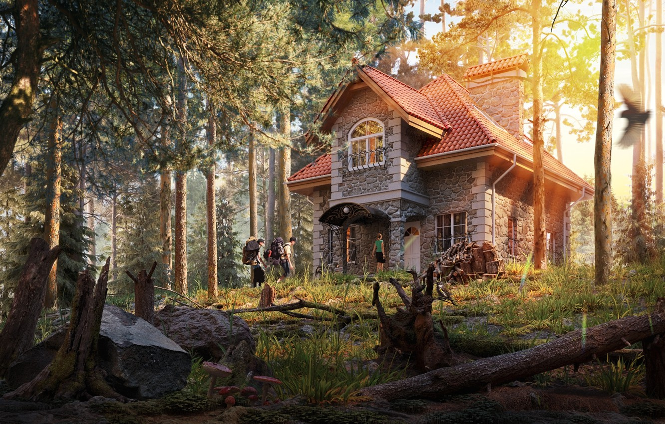 Wallpaper Forest Roots Tourists House In The Woods Shishkin