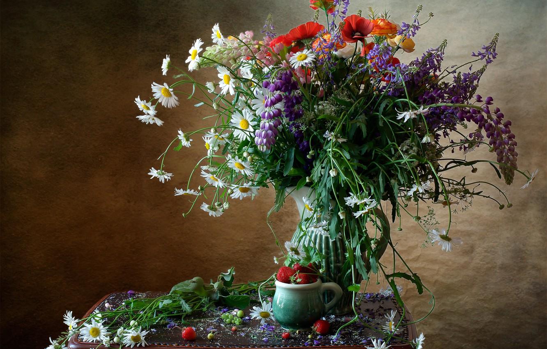 Photo wallpaper Maki, chamomile, bouquet, strawberry, Lupin
