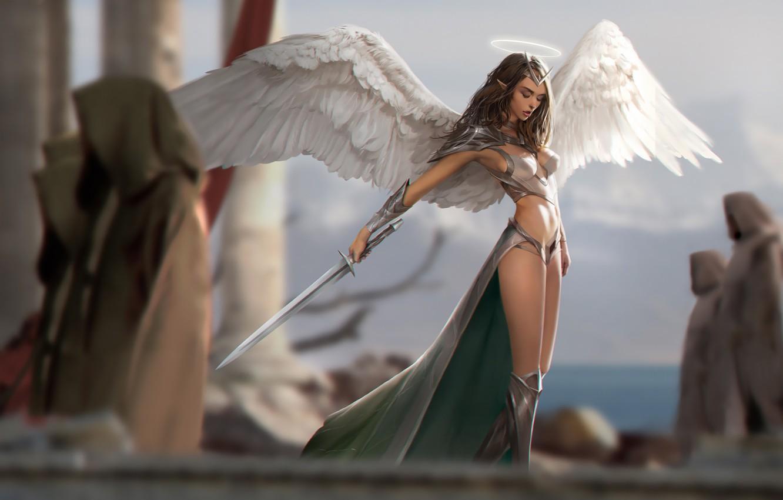 Photo wallpaper girl, sword, fantasy, armor, weapon, wings, Angel, elf, digital art, artwork, warrior, fantasy art, illustration, …