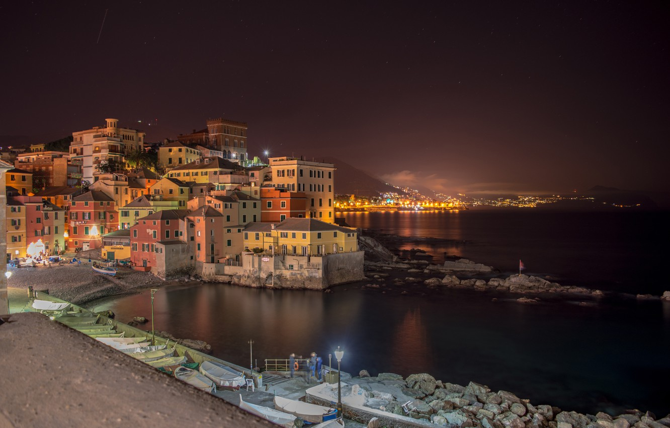 Photo wallpaper lights, the evening, Italy, Liguria