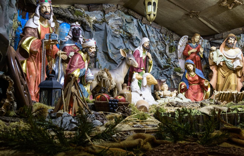 Photo wallpaper Christmas, birth, religion, Christ, Jesus, cot
