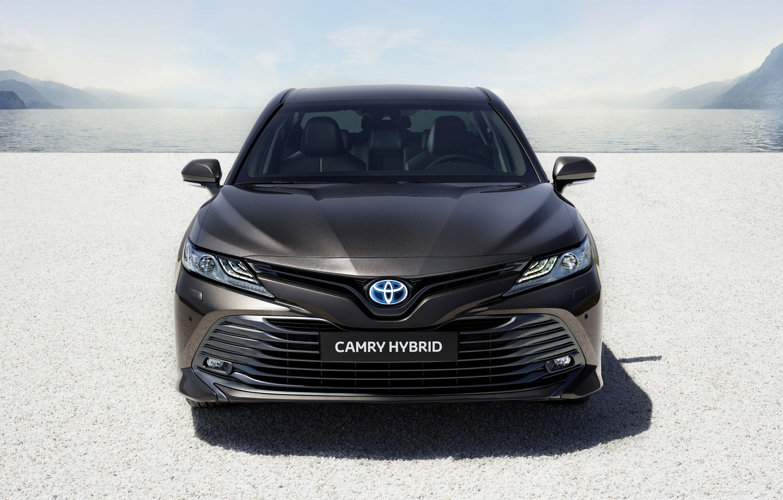 Photo wallpaper Toyota, sedan, front view, Hybrid, Camry, 2019