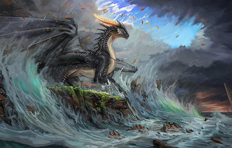 Photo wallpaper waves, fantasy, horns, sky, sea, coast, wings, blue eyes, clouds, rocks, dragon, digital art, artwork, …