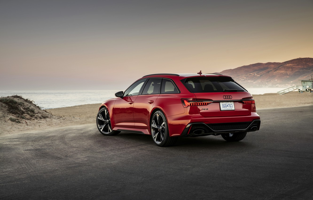 Photo wallpaper beach, red, Audi, shore, universal, RS 6, 2020, 2019, V8 Twin-Turbo, RS6 Avant