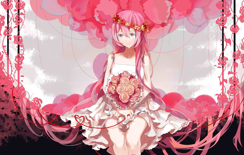 Photo wallpaper balls, roses, bouquet, vocaloid, crying, Megurine Luka
