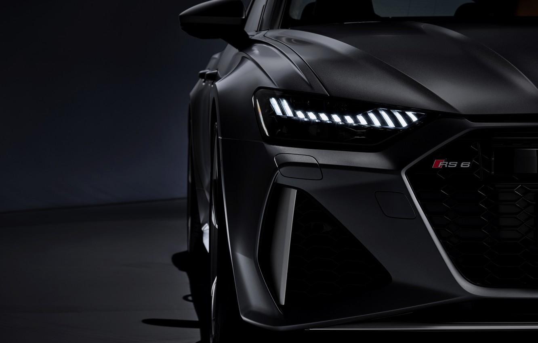 Photo wallpaper Audi, grille, universal, RS 6, 2020, 2019, dark gray, V8 Twin-Turbo, RS6 Avant, led laser …