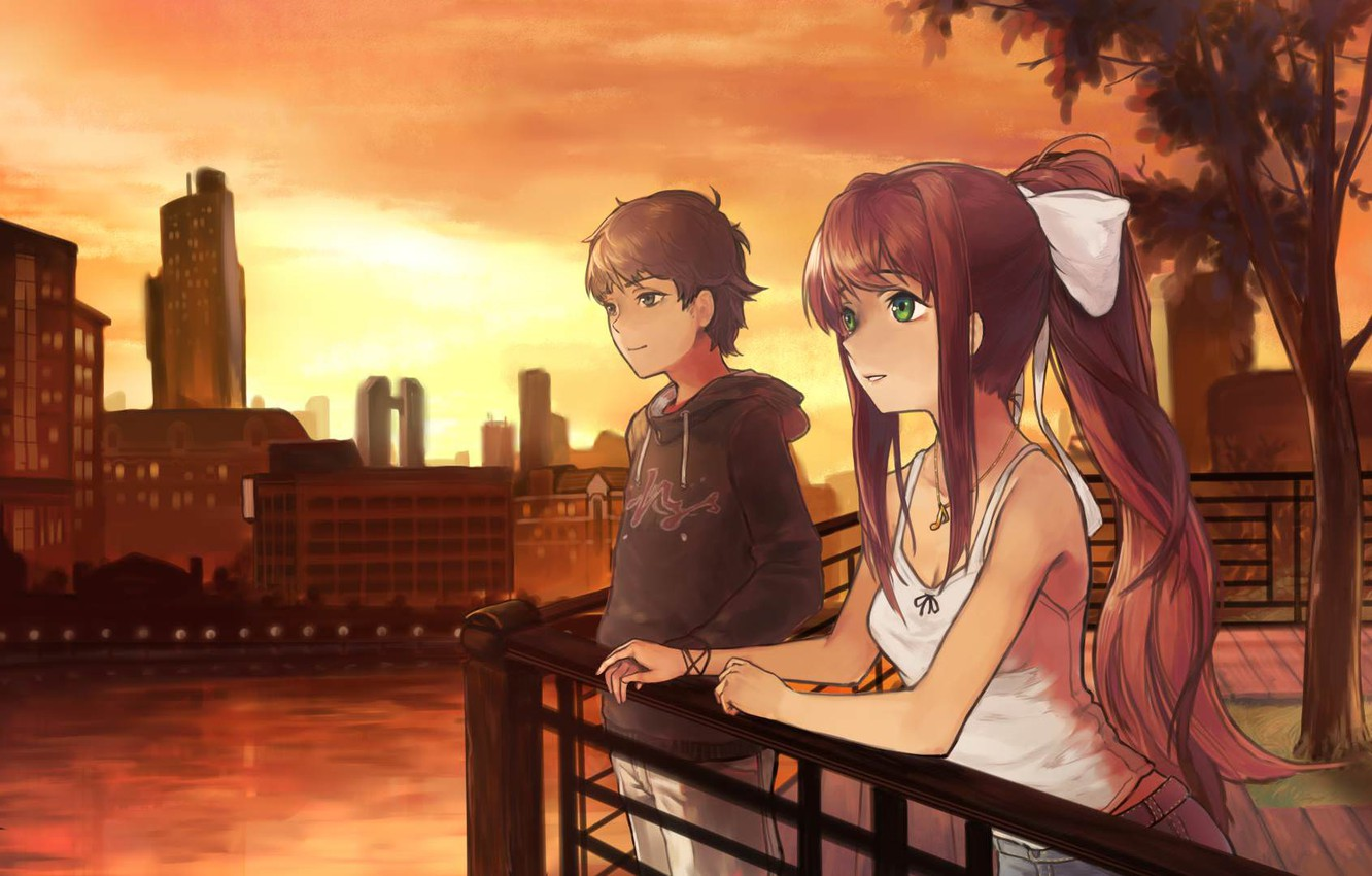 Wallpaper Girl The Evening Guy Monika Doki Doki Literature