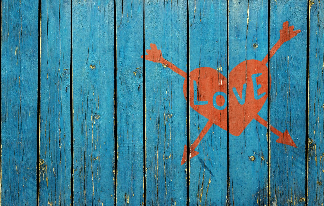 Photo wallpaper love, the fence, love, picture heart