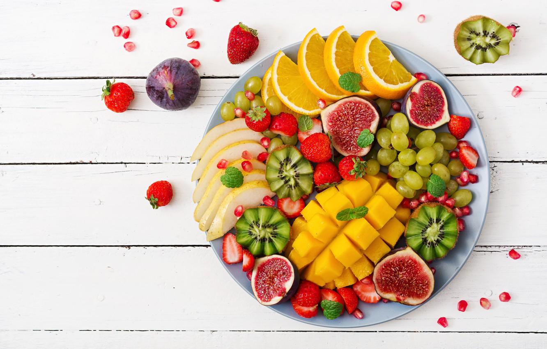 Photo wallpaper berries, orange, colorful, kiwi, strawberry, grapes, summer, fruit, mango, fresh, wood, sweet, strawberry, fruits, berries, …