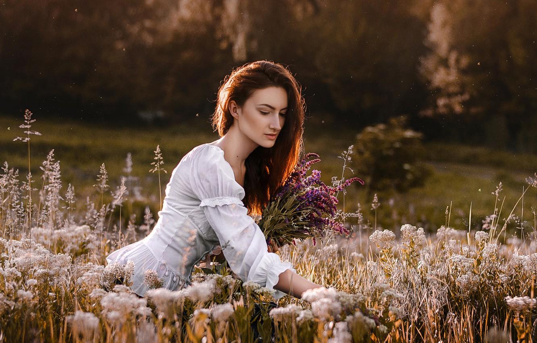 Photo wallpaper field, look, girl, flowers, Dima Begma