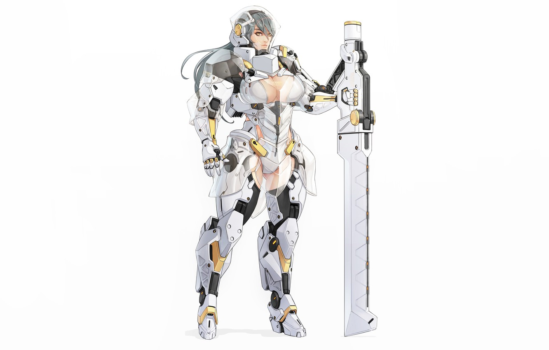 Photo wallpaper Girl, Sexy, Art, Berserk, Knight, Minimalism, Cyborg, Sword, Characters, Armor, Ren Wei Pan