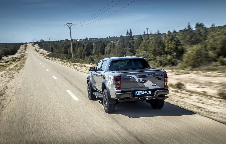 Photo wallpaper road, trees, grey, posts, Ford, Raptor, pickup, Ranger, 2019