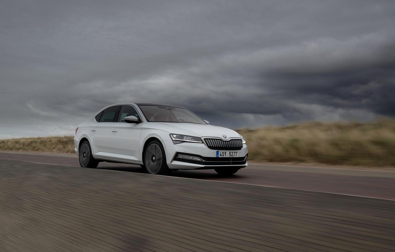 Photo wallpaper overcast, sedan, hybrid, Skoda, Skoda, Superb, 2020, 2019, Superb iV