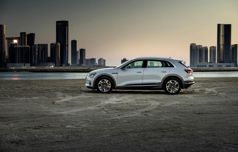 Photo wallpaper white, Audi, profile, E-Tron, 2019