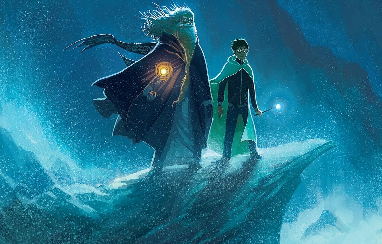 Photo wallpaper sea, wave, rock, beard, cloak, Potter, Harry Potter, Harry, magic wand, Albus, Albus, Dumbledore, дамблдор, …