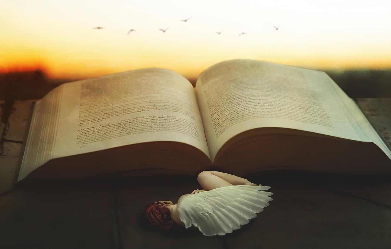 Photo wallpaper girl, angel, book