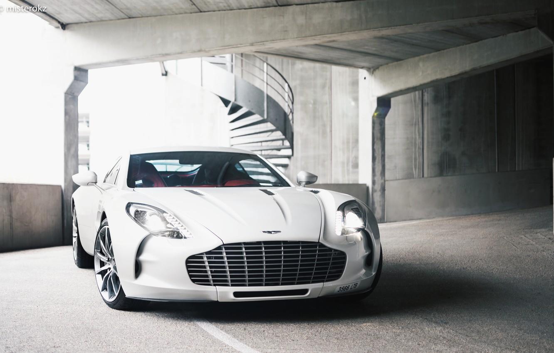 Photo wallpaper Supercar, White, Parking, Aston Martin One 77