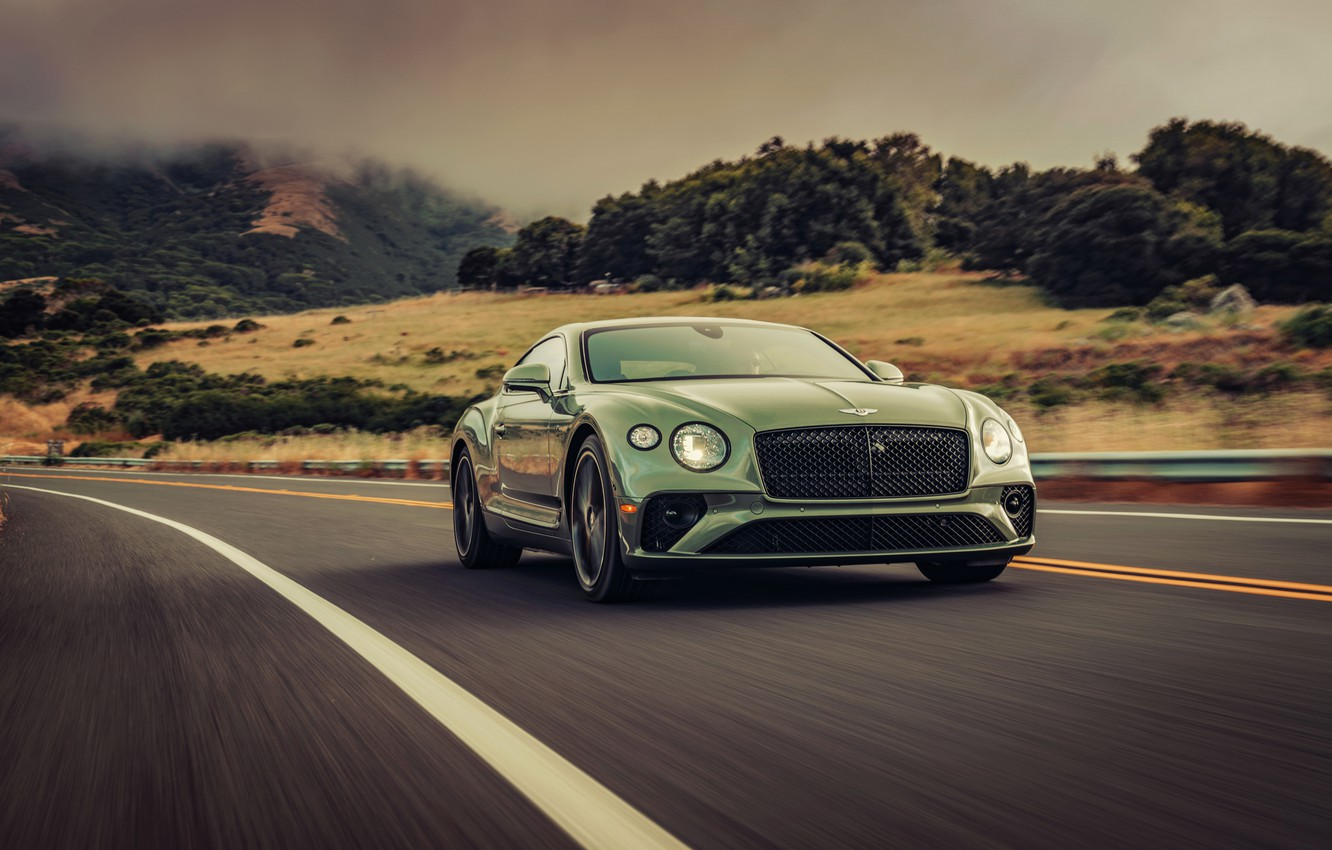 Photo wallpaper road, movement, coupe, Bentley, hill, 2019, Continental GT V8