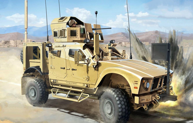 Photo wallpaper M-ATV, Oshkosh Truck, combat reconnaissance vehicle, modern American wheeled armored car