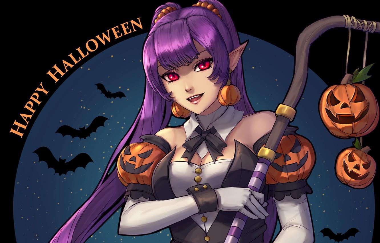 Photo wallpaper girl, art, lantern, Halloween, anime, bat, vampire,