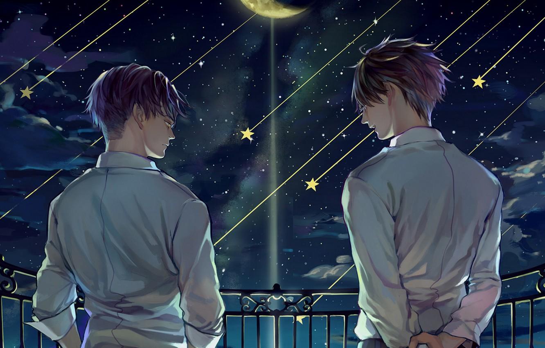 Photo wallpaper night, guys, Eren, Shingeki No Kyojin, Attack of the titans, Levi