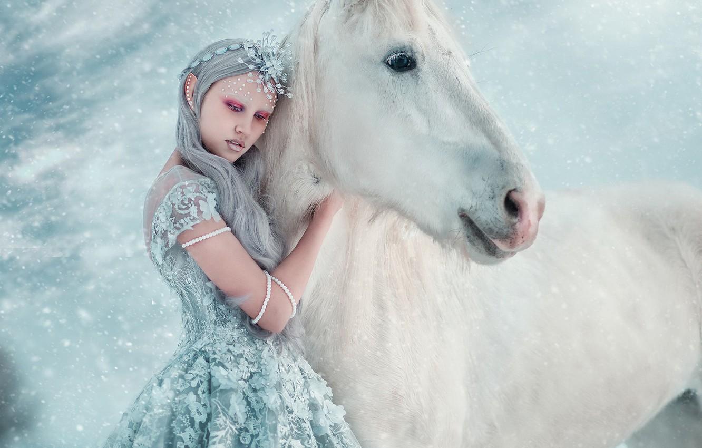 Photo wallpaper winter, girl, snow, style, horse, horse, fantasy, photographer, Princess, snowfall, Maria Lipina