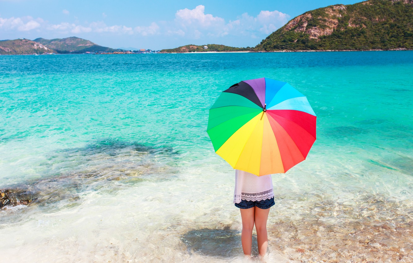 Photo wallpaper sand, sea, beach, summer, happiness, stay, color, rainbow, umbrella, colorful, girl, rainbow, girl, summer, happy, …