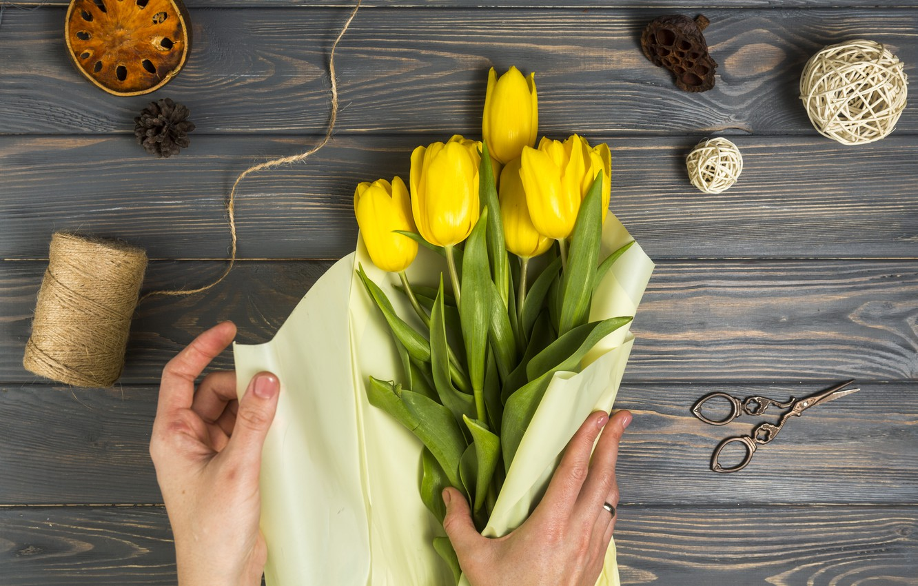 Photo wallpaper flowers, paper, bouquet, tulips, wood, packaging