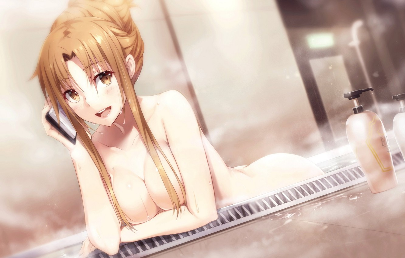Photo wallpaper look, pose, soap, couples, bath, bath, sword art online, yuuki asuna, dispenser