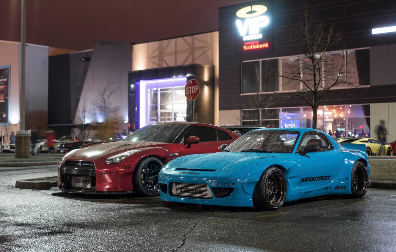 Photo wallpaper City, Mazda, Cars, Rain, RX-7, Nissan GT-R, Mazda RX-7 widebody