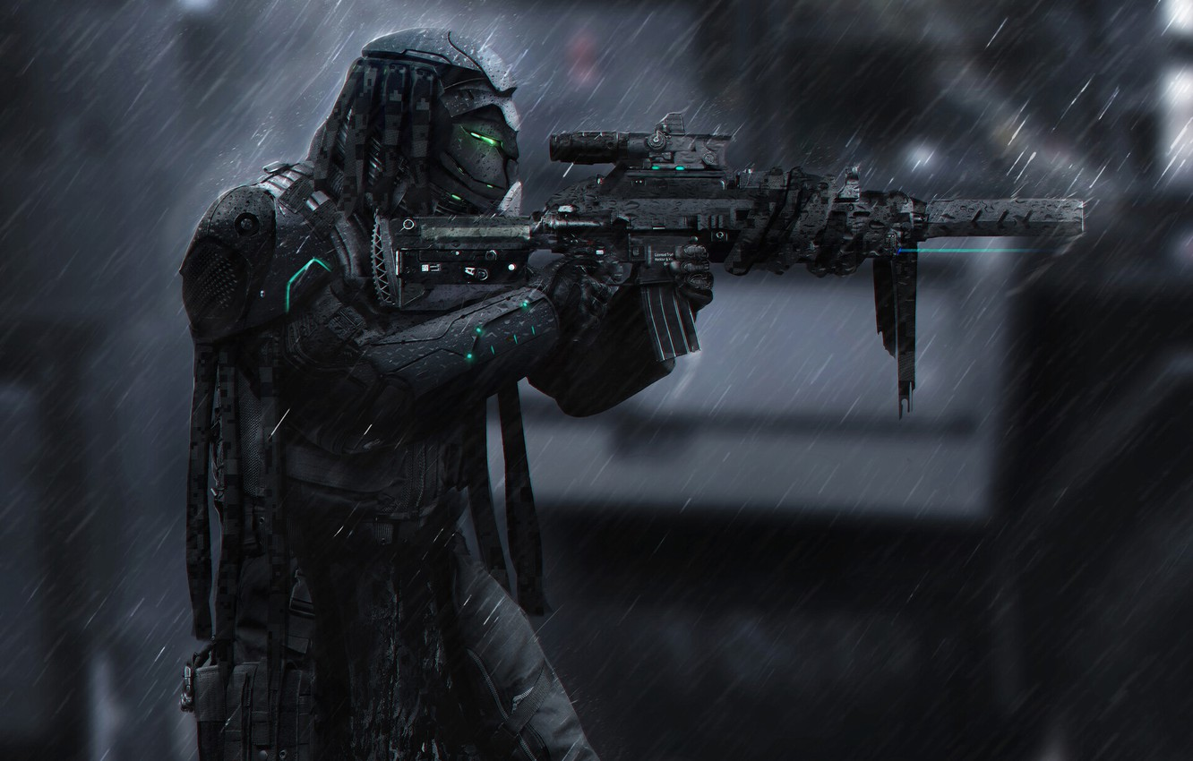 Wallpaper Robot Rain Soldiers Weapons Gun Robot Sniper