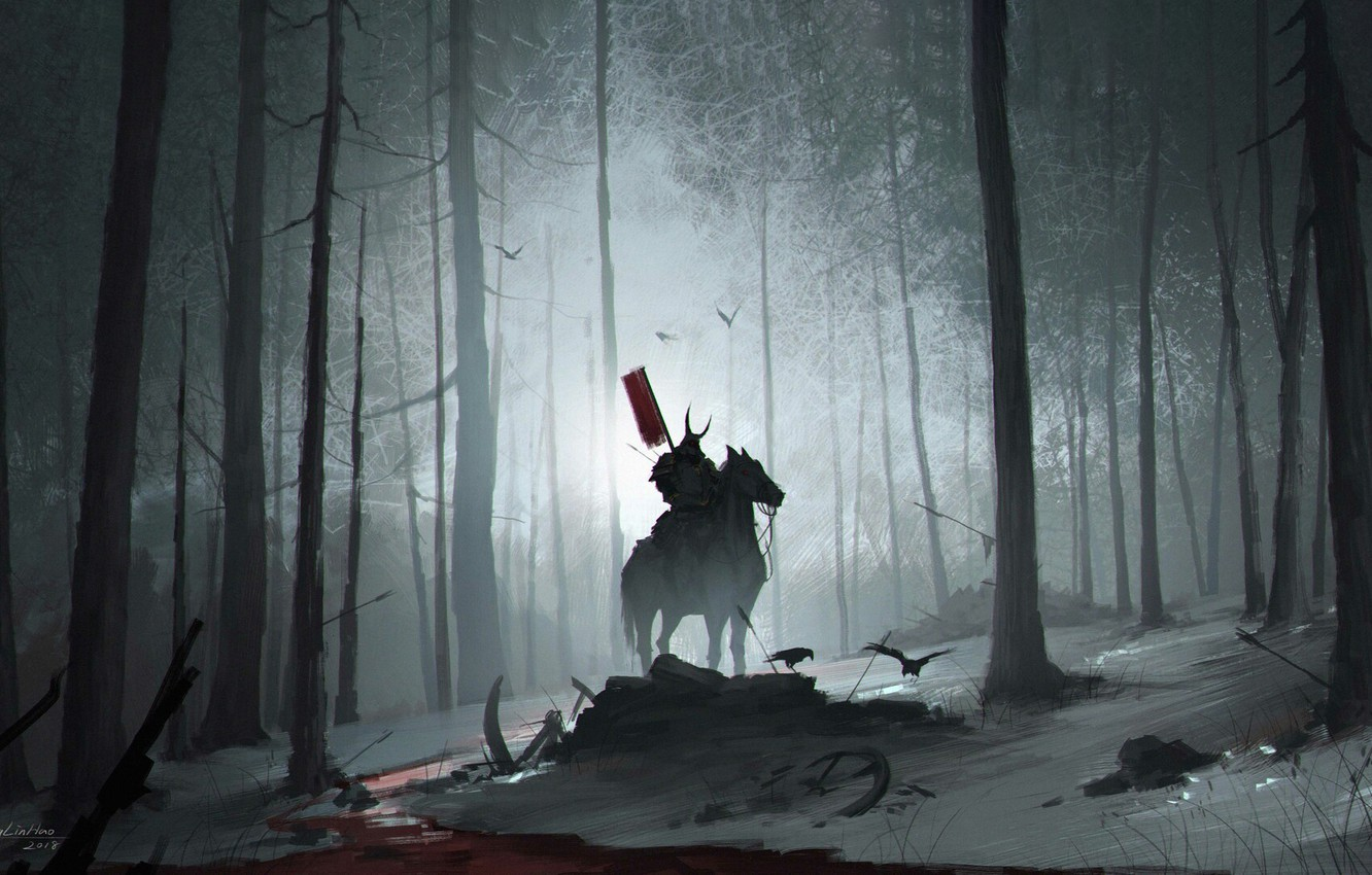 Wallpaper Night Trees Forest Horse Warrior Samurai