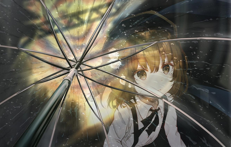 Photo wallpaper look, umbrella, girl, Virtual Youtuber