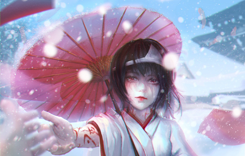 Photo wallpaper girl, umbrella, hand, kimono, Diadema