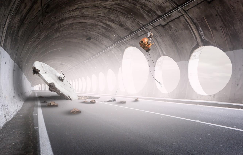 Photo wallpaper UFO, the tunnel, tunnel, UFO, Martin Marcisovsky