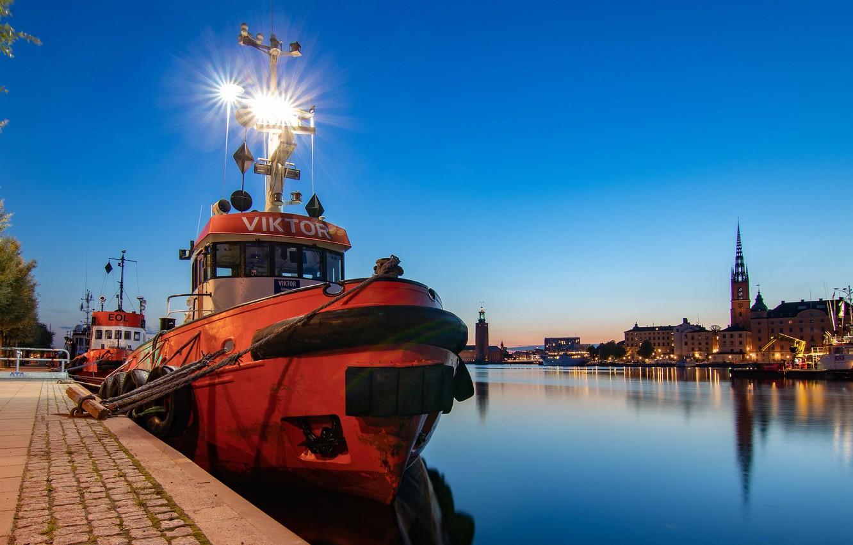 Photo wallpaper the evening, Stockholm, Sweden, river court