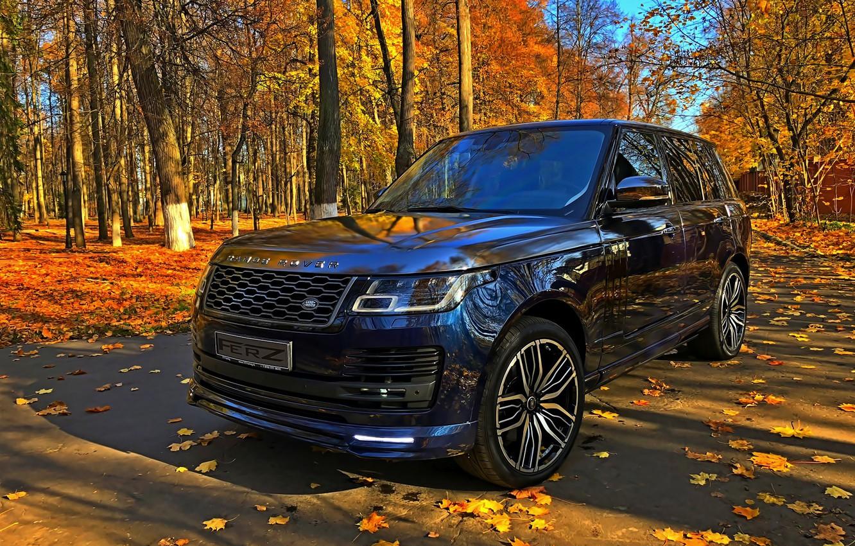 Photo wallpaper Land Rover, autumn day, blue SUV
