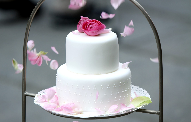 Photo wallpaper flowers, cake, tiers, Ranunculus, wedding