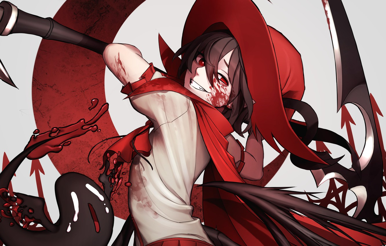 Photo wallpaper girl, smile, weapons, blood