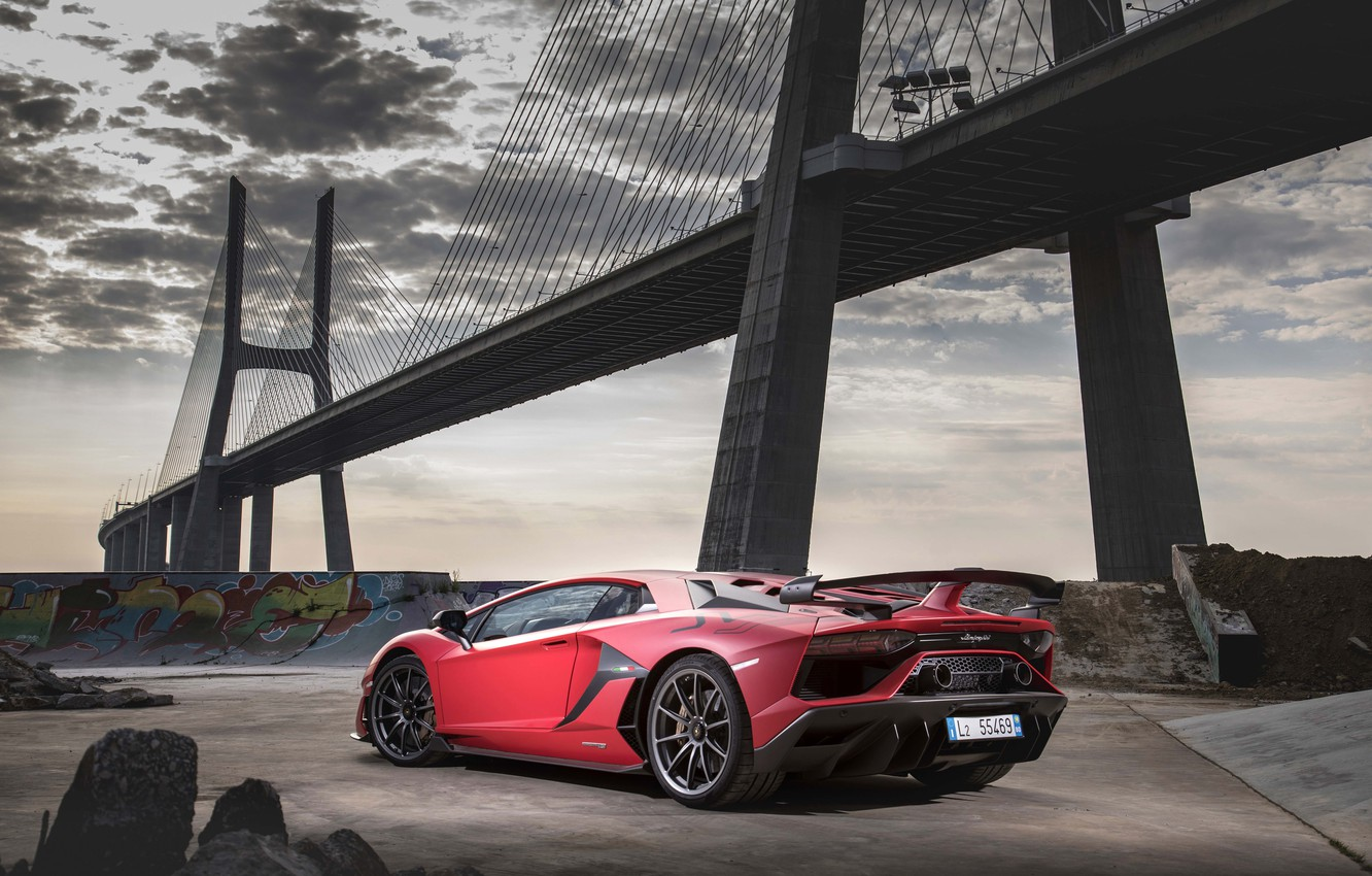 Photo wallpaper bridge, Lamborghini, supercar, 2018, Aventador, SVJ, Aventador SVJ